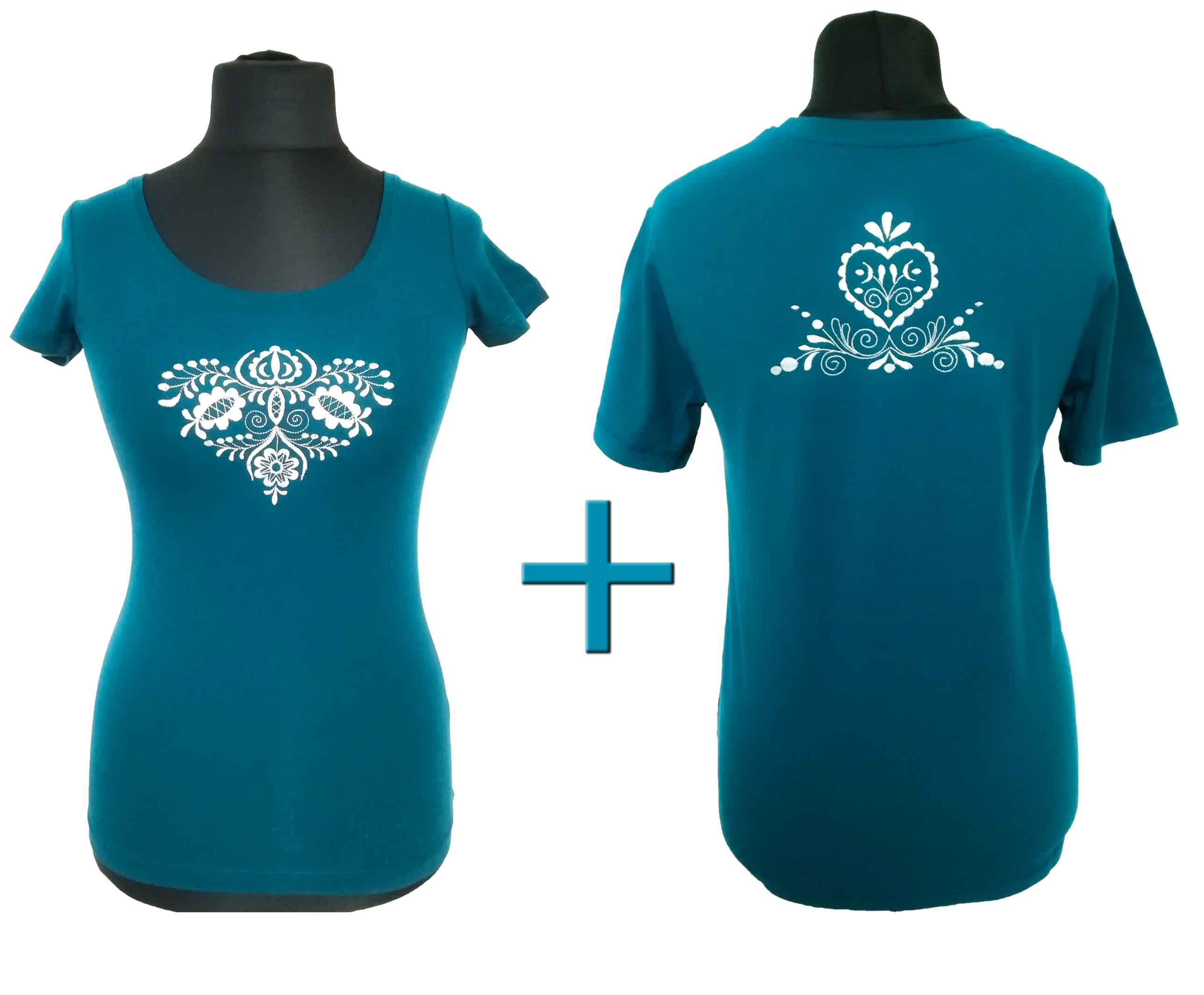 acee9cdd0 PETROLEJOVÉ pánske a dámske tričko s výšivkou – Creative Art